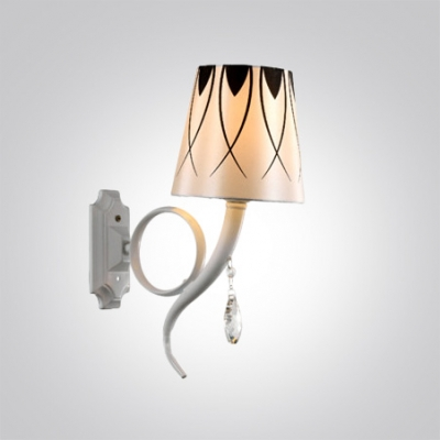 Elegant White Finish and Clear Crystal Drop Add Elegamce to Delightful Wall Light Fixture Topped with Empire Shade