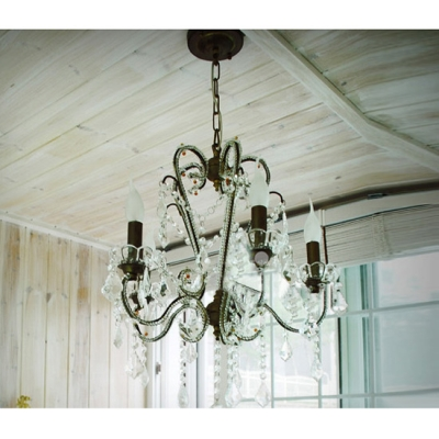 Enchanting Wrought Iron Frame Trimmed with Clear Crystal Formed Stunning Five Light Chandelier