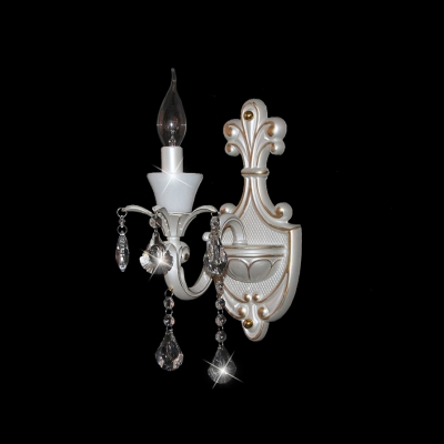 Fantastic All White Clear Crystal Wall Sconce with Delicate Scuplture