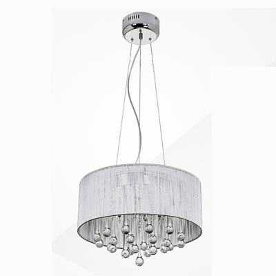 fantastic ceiling light with white translucent drum shade supports waterfall of sparkling crystal teardrops