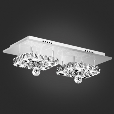 Finely Hand Cut Crystal Diamonds Square Flush Mount Light Hanging a Crystal Ball
