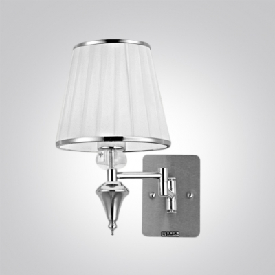 ... Glamorous Single Light Wall Sconce Features Polished Chrome Finish And  White Fabric Shade ...