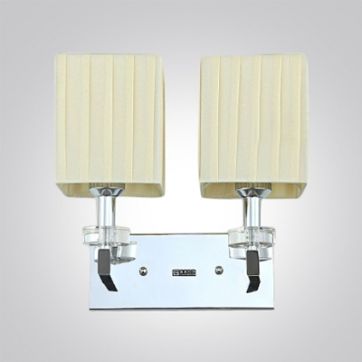 Glamorous Two-light Wall Sconce Completed with Polished Chrome Finish and Beige Fabric Square Shade