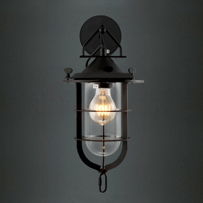 Lantern like black finished led mini wall light with outer cage mozeypictures Gallery