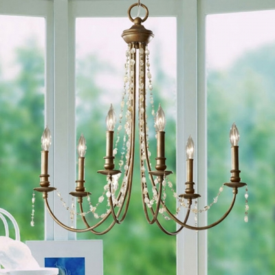 Large Rustic Brass and Crystal Six Light Chandelier Add Warmth and Charm to Your Home Decor