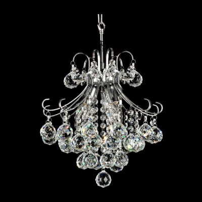 Lovely and Sparkling 4-Light Mini Contour Crystal and Chrome Chandelier