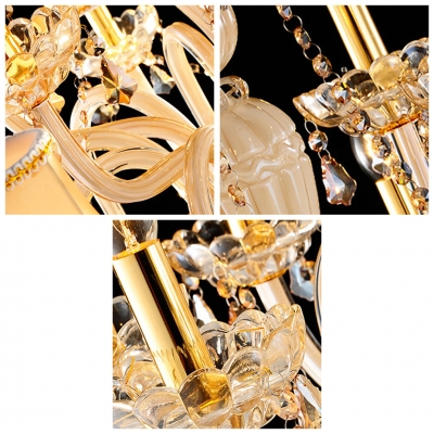 Luxurious Gold Finished Handcut Crystal Pedaloques and Chains Candle Light Chandelier