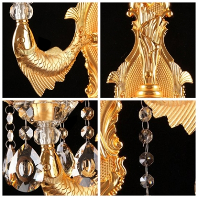Luxury Shimmering Two Light Clear Lead Crystal Wall Sconce with Graceful Arm
