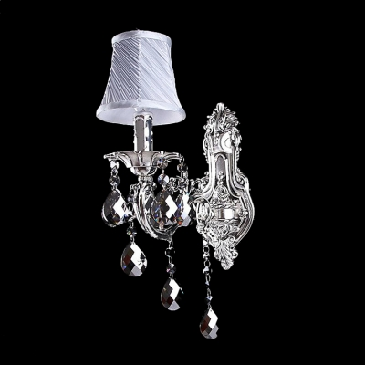 Outstanding Wall Sconce Offers Beautiful Silver Finish Pairs with Decorative Silver Fabric Shade and Lead Crystal Droplets