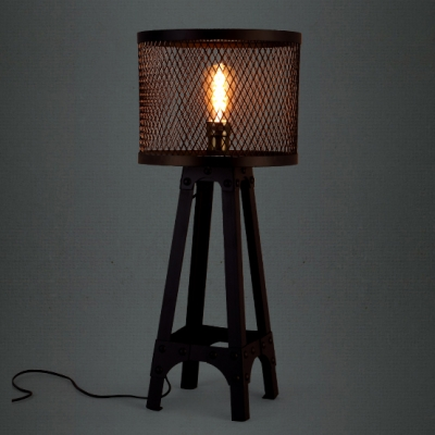 Retro drum shaded industrial black iron network four feet table lamp