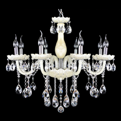 Soft and Chic White Glass Curved Arms and Clear Crystal Beading Chandelier