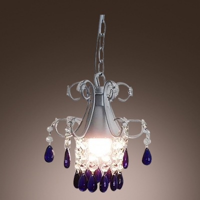 Soft and Romantic White Finished Frame Clear Crystal Strands and Blue Drops Mini Pendant Light