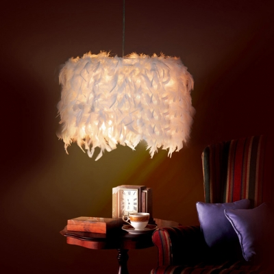 Soft White Feather and Purity Large Designer Pendant Light