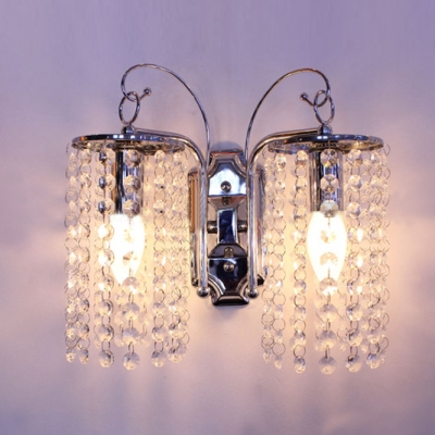 Sparkling Wall Light Fixture Adorned with Graceful Scrolling Arms in Chrome Finish and Beautiful Clear Crystal Falls