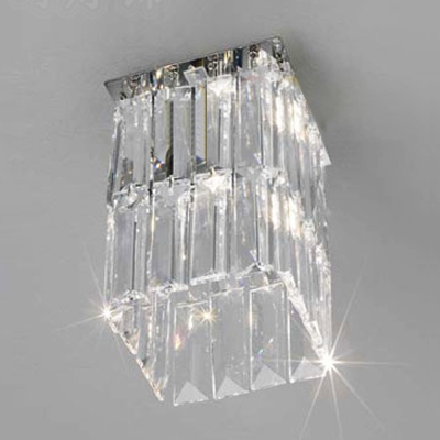 Stunning Chrome Finish and Square Ccrystals Add Glamour to Gleaming Semi-flushmount Ceiling Light