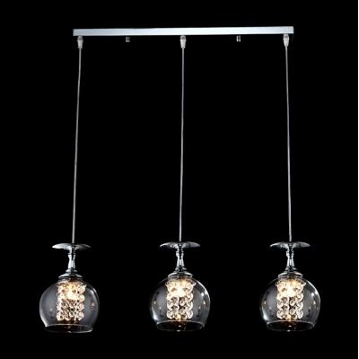 Three Goblets Bold and Elegant Encircled Crystal Strands Multi-light Pendent Lighting Fixture for Dining Room