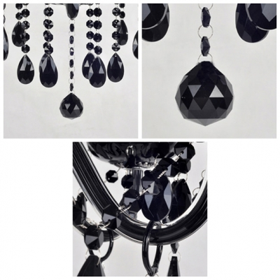 Three Lights Black Crystal Droplets Accented and Fabric Shades Captivating Mini Chandelier