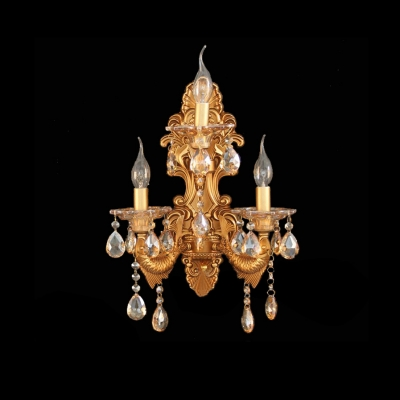Traditional Luxury Gold Wall Sconce Featured Fish-like Strolling Arm Crystal