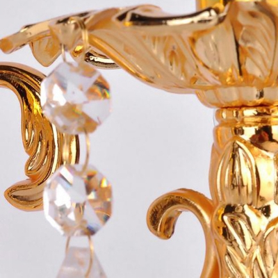 Unique Decorative Candelabra Style Wall Sconce Featured Beautiful Crystal Droplets and Delicate Back Plate