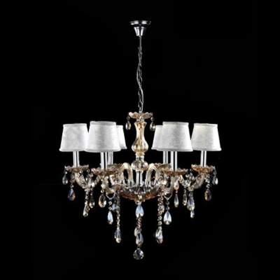 Warm and Elegant Amber Crystal Curved Arms and Droplets Soft White Shades Chandelier
