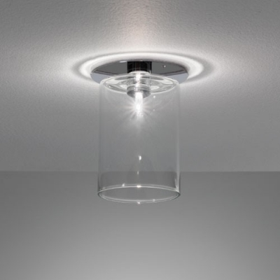 "Stunning Glass Cylinder Shaded Semi-Flush Mount Ceiling Light In Designer Style 6.7""High Clear"