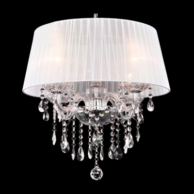 Beautiful and Romantic Cream Colored Shade Clear Crystal Accented Chandelier
