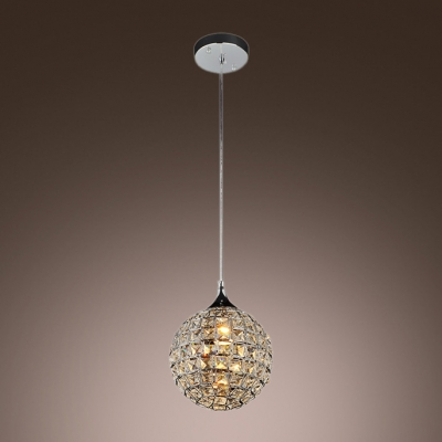 Bewitching Globe Shade Adorned with Dazzling Crystal Beads Add Glamour to Delightful Single Light Mini Pendant Light
