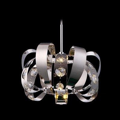 Bold and Intriguing Stainless Steel Frame Mini Pendant Accented by Bright Crystals