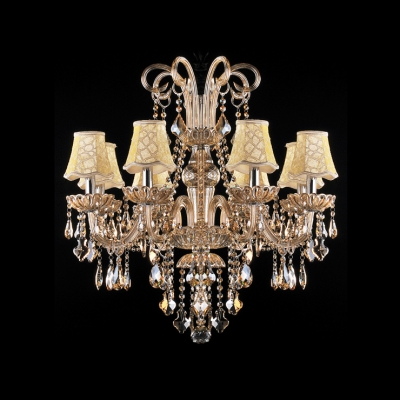 Classic and Elegant Crystal Scrollls Fabric Bell Shaded and Crystal Droplets Chandelier