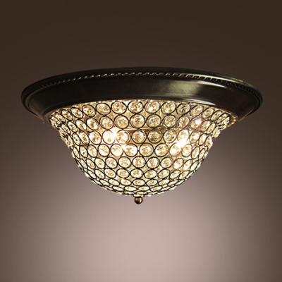 Clear Crystal Beaded Dome Shaped Flush Mount In Antique Bronze Finish
