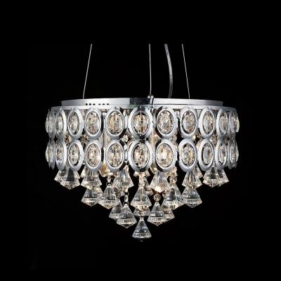 Clear Crystal Diamonds Cascade Faceted Crystal Embedded 5-Light Pendant Light