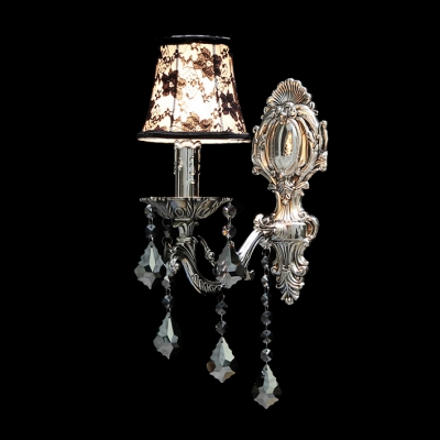 Concise Delicate Silver Finish Detailing and Lead Crystal Drops Add Charm to Delightful Single Light Wall Sconce