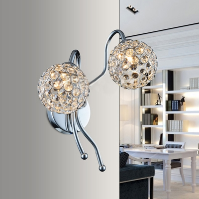 Contemporary Globe Design Add Charm to Stunning Crystal Two Light Wall Sconce