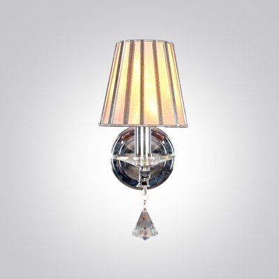 Contemporary One Light Wall Sconce with Gray Fabric Shade and Beautiful Crystal Teardrop
