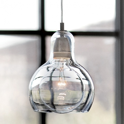 Designer Mini Bulb Pendant In Clear Glass
