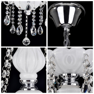 Elegant White Glass Support Clear Crystal Strands and Droplets 3-Light  20.4