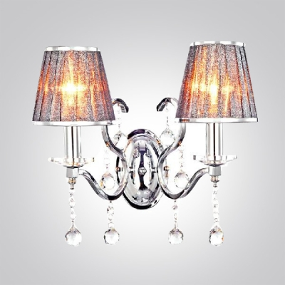 Enticing Glamorous Two Lights Fabric Shades Wrought Iron Wall Sconce Draped  With Clear Crystal Balls ...
