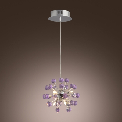 Glamorous and Chic Pendant Light Features Purple Crystal Balls for Sophisticated Look