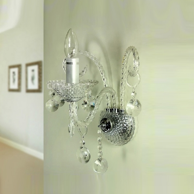 Glamourous Gleaming Single Light Crystal Wall Sconce Pairs with Sleek Curving Arm