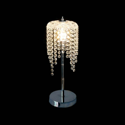 Gorgeous Crystal-studded Table Lamp Completed with Chrome Finish with Solid Steel Base