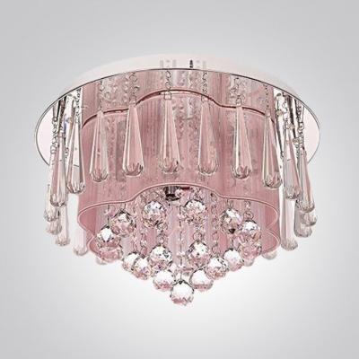 Large Crystal Drops Hanging Outer Pink Silken Inner Shade Flush Mount Lighting