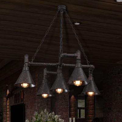 Medium 5-light LED Pendant Chandelier in Black Finish