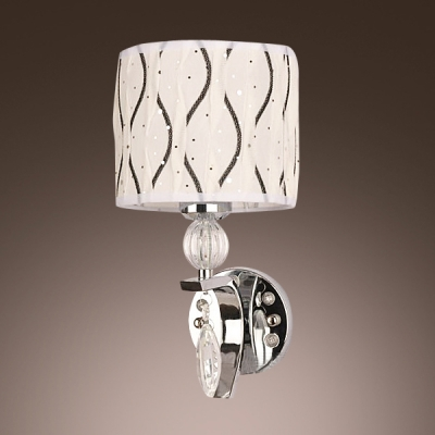 Modern Polished Chrome Finish Wall Sconce Features Elegant Crystal Drop and Graceful White Fabric Shade
