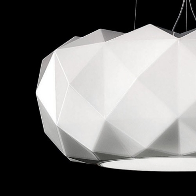 Modern Round Diamond Shaped Glass Large Pendant Light