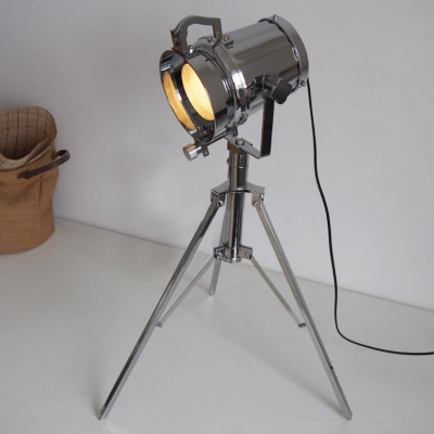 Practical 1 Light Chrome Spotlight Tripod LED Lamp
