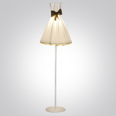 "Romantic And White Fabric Umbrella Shaped Designer Floor Lamp 66.9""High"