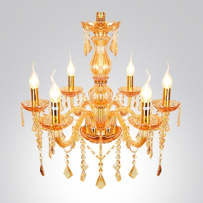 Six Lights Warm and Gorgeous Gold Crystal Traditional One Tier Living Room Hallway Chandelier