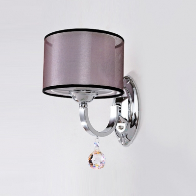 Sophisticated Single Light Polished Chrome Finish Crystal Accent Wall Sconce Featuring Double Fabric Shades