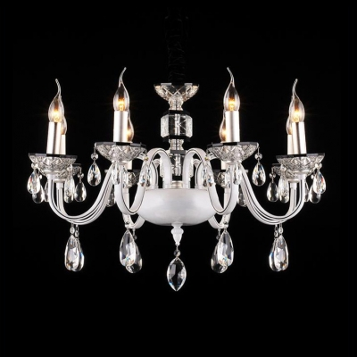 Sparkle and Glamour Clear Crystal Droplets Chrome Finished Frame Modern Chandelier