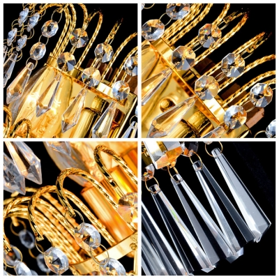 Sparkling Wall Sconce Features Faceted Crystals and Graceful Scrolls